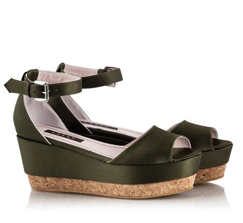 wedge flat shoes logan khaki satin ankle flat cork wedge sandals
