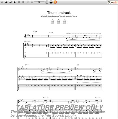 Partition guitare acdc thunderstruck Ac Dc Thunderstruck Guitar Tabs