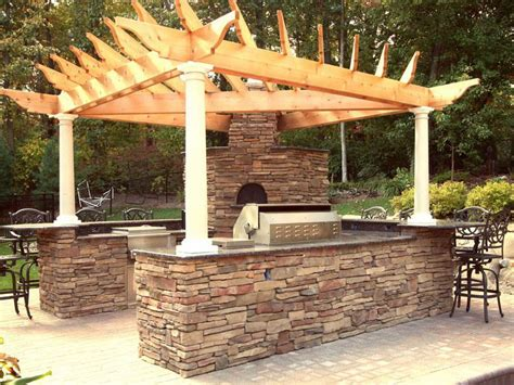 outdoor unique roof built rustic outdoor kitchen designs