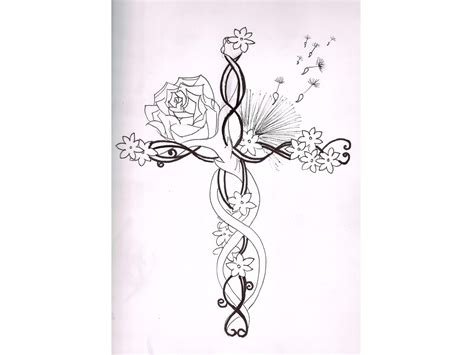 cross flower tattoo free coloring pages of cross and