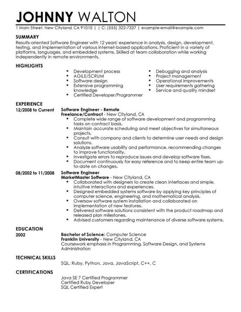 resume format for remote support engineer best remote software engineer resume exle livecareer