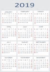 Printable Calendar 2018 2019 矢量日历 图库矢量图像 169 Mitay20 14526341