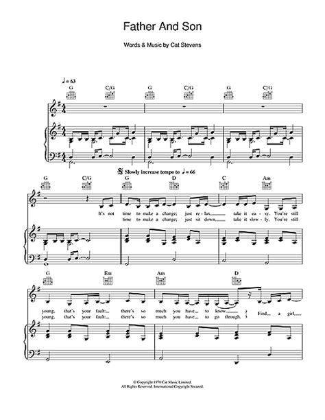 tutorial piano father and son father and son sheet music by cat stevens piano vocal