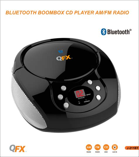 Ac Portable Aux qfx bluetooth cd player boombox fm radio aux in