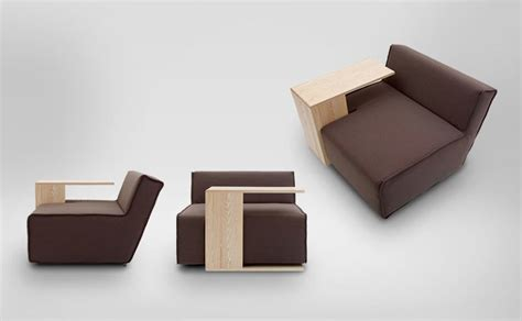 functional modular sofa with modifiable wooden tables