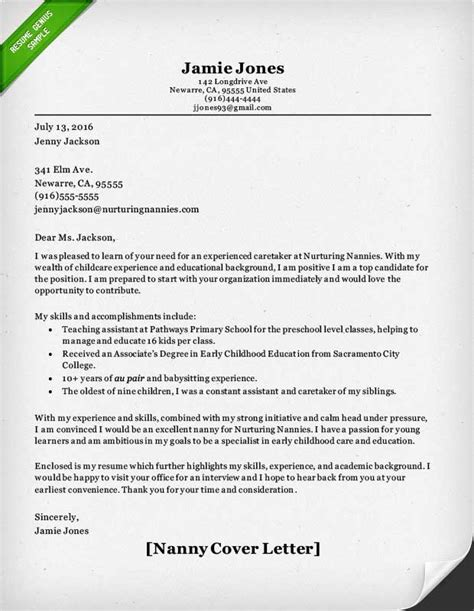 Cover Letter For A Nanny by Nanny And Caregiver Cover Letter Sles Resume Genius