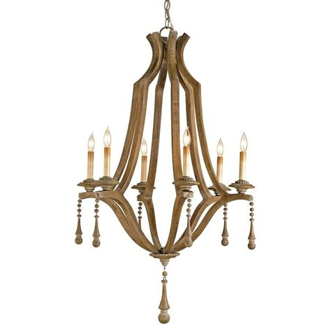Country Wooden Chandeliers country washed bent wood 6 light chandelier kathy kuo home