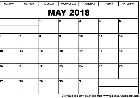 create calendar template may 2018 calendar template