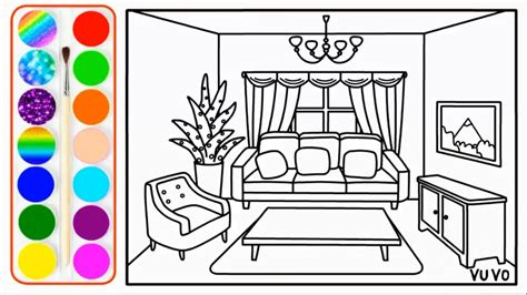 Drawing Living Room - how to draw living room and coloring pages for