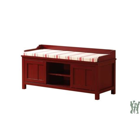 red storage bench linon 840212red01u lakeville red storage bench red striped