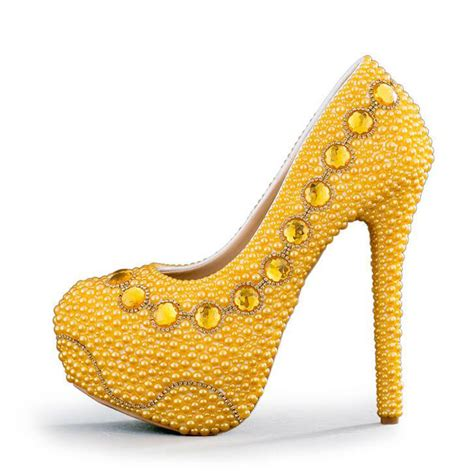 Yellow Bridal Shoes by Yellow Stiletto Pumps Promotion Shop For Promotional
