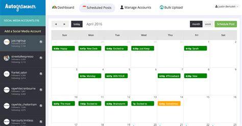 Instagram Calendar Autogrammer Schedule Instagram Posts
