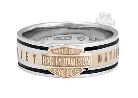 HMR0017   Harley Davidson® Mens .925 Silver Classic B&S with 14K Gold Inlay Band Ring by Mod