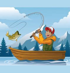 cartoon man in boat fishing fishing cartoon royalty free vector image vectorstock