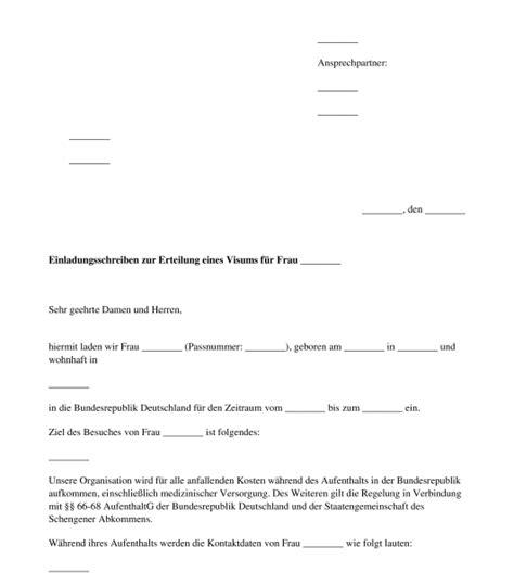 einladungsschreiben visum schweiz vorlage einladungsschreiben f 252 r ein visum muster word und pdf