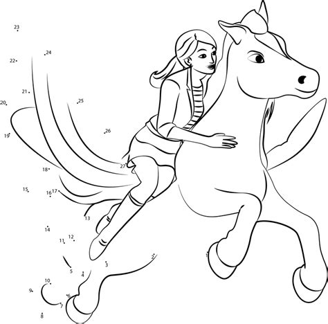 barbie printable dot to dot barbie with flying horse dot to dot printable worksheet