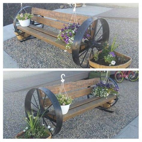 metal wagon wheel bench old steel wheel bench with cedar boards garden art