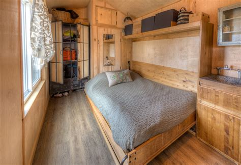 tiny house bed ideas cool rustic tiny house combines chalkboard wall and murphy bed curbed