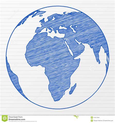 de wereldbol 2 van de tekening stock afbeeldingen