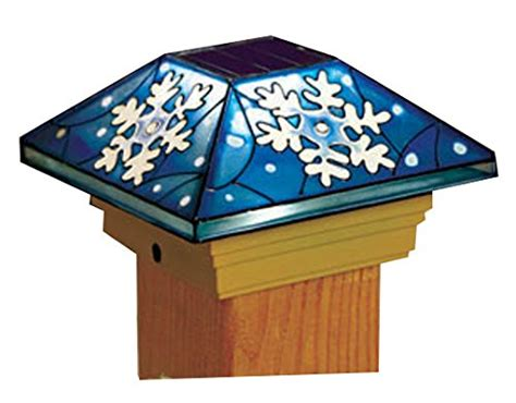 stained glass ls amazon snowflake solar post cap light home garden