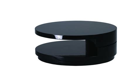 Round Black High Gloss Coffee Table   Homegenies