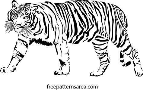 pattern drawing tiger tiger vector scrollsaw stencil pattern freepatternsarea