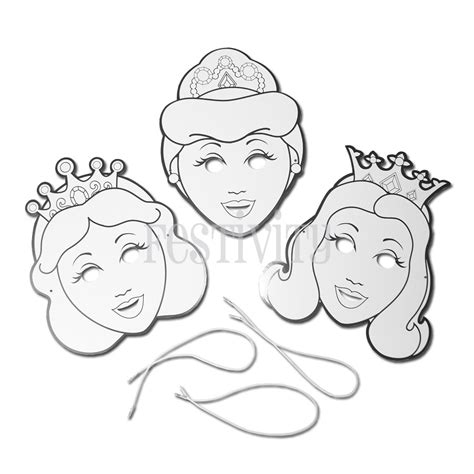 princess mask coloring pages color your own princess mask set of 6 festivity