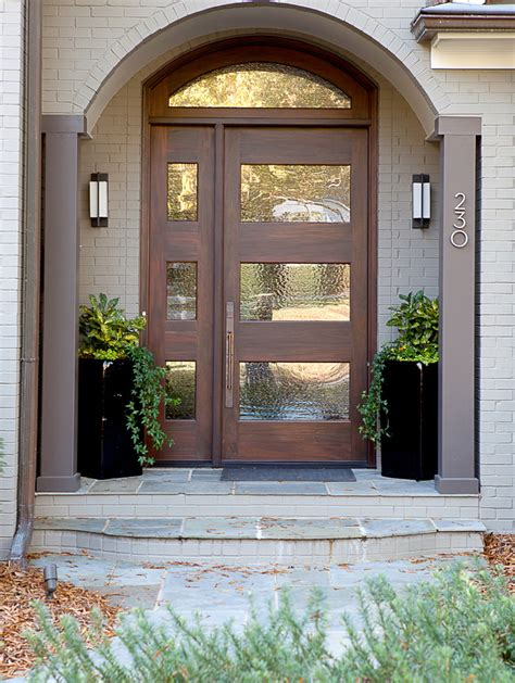 Best Type Of Exterior Door Front Door Potted Plant Ideas Entry Transitional With Walnut Door Transom Window