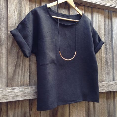 pattern boxy shirt black linen hemlock tee by diane project sewing