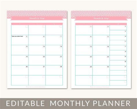 free printable planner undated free printable undated monthly calendar calendar