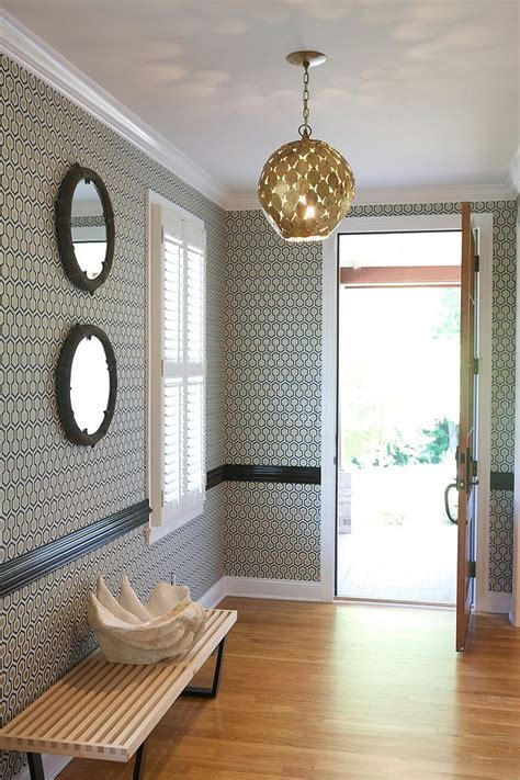 foyer entry 25 gorgeous entryways clad in wallpaper