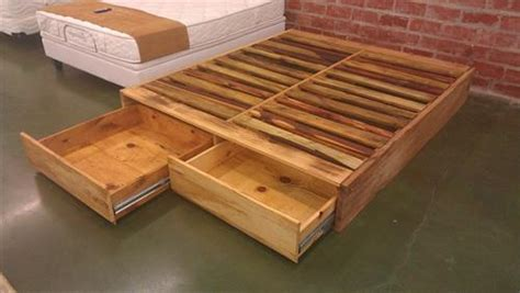 diy pallet bed with drawers diy pallet wood bed frame ideas pallets designs