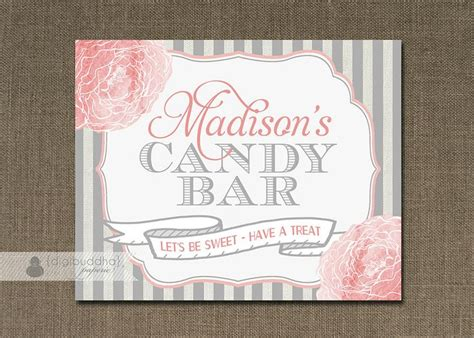 Baby Shower Buffet Sign Template by Blush Pink Gray Bar Sign Baptism Baby Shower
