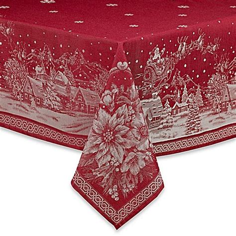 bed bath and beyond christmas tablecloths christmas story tablecloth in red bed bath beyond