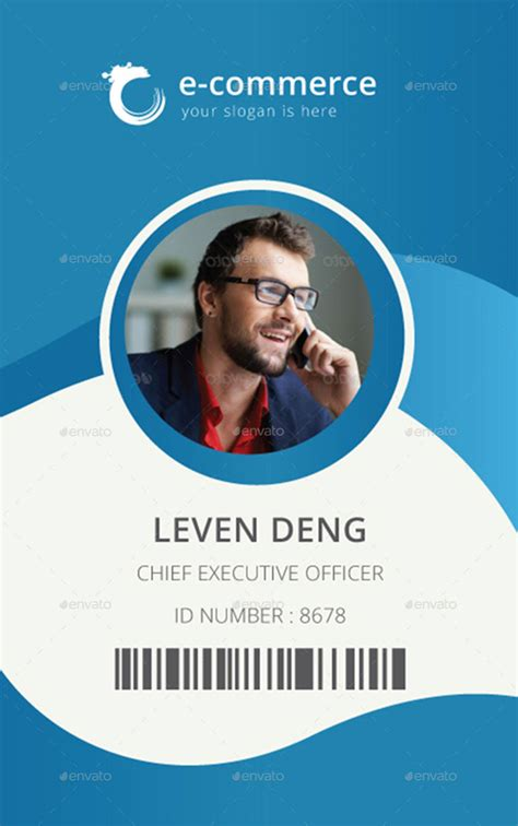design id card in illustrator template for identification card id badge pinterest