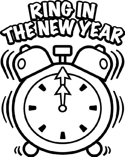 new year printable pictures new year s clock coloring page crayola