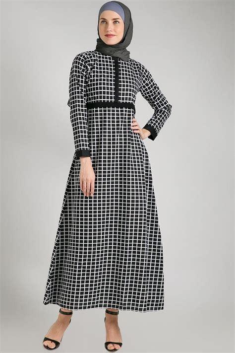 Baju Dress Hitam Kotak Kotak model gamis muslim terbaru untuk penilan yang modern