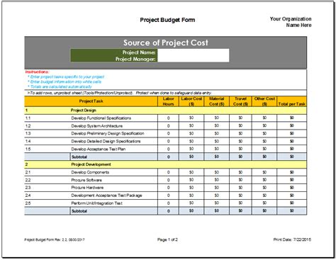 project management budget template project budget template cyberuse