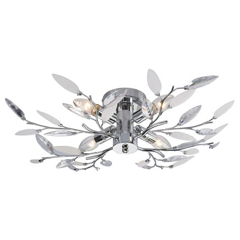white leaf ceiling light fitting