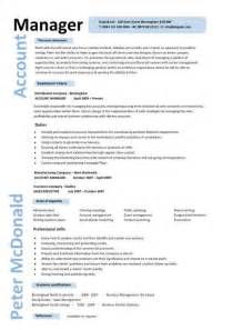 account manager resume template account manager cv template sle description