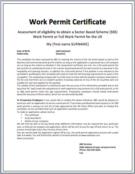 work permit template work certificate layout microsoft word templates