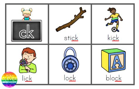 printable word ending games printable digraph bingo game for ck sound you clever