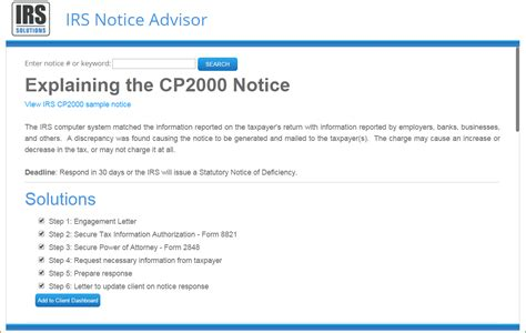 Cp2000 Response Letter Exle Irs Notice Advisor Irs Solutions Software