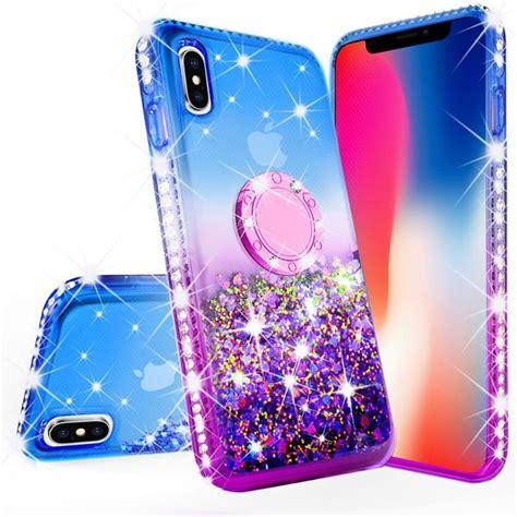 iphone xr liquid glittter bling phone for ring kickstandbumper shock