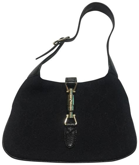 gucci jackie mini  monogram black canvas hobo bag