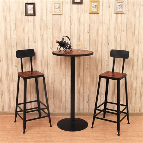 Starbucks Metal Bar Stools by American Iron Wood Loft Bar Chair Backrest Simple Retro