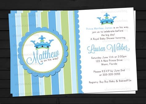 Themed Baby Shower Invitations by Prince Themed Baby Shower Invitations Theruntime