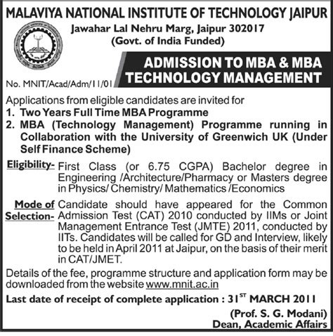 Mba Finance In Jaipur by Admision Mantra Malaviya National Institute Of Technology