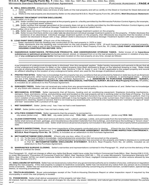 Download Minnesota Standard Residential Purchase Agreement For Free Page 4 Formtemplate Mn Purchase Agreement Template