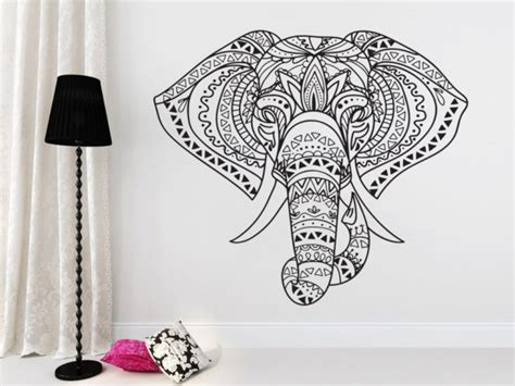 Stickers For Kitchen Walls indian elephant mandala hippie wall art vinyl sticker
